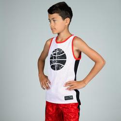 MAILLOT DE BASKETBALL REVERSIBLE GARCON/FILLE CONFIRME(E) ROUGE BLANC BALL T500R