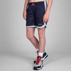 Basketbalshort SH500R reversible roze/marine (kinderen)