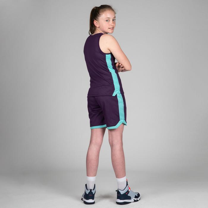 Camiseta Reversibe Baloncesto Tarmak T500R Niños Sin Mangas Violeta Blanco