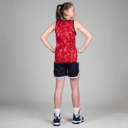 Wendetrikot Basketball T500R Kinder Fortgeschrittene rosa/marineblau