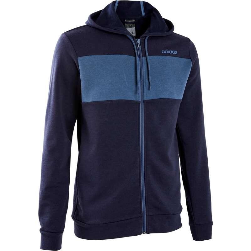 MAN GYM, PILATES COLD WEATHER APPAREL Clothing - Hooded Gym Sweatshirt - Blue ADIDAS - Tops