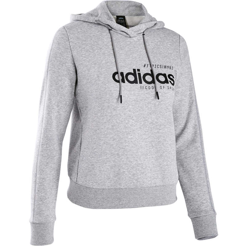 WOMAN PANT JACKET SWEAT Clothing - Hooded Gym Sweatshirt - Grey ADIDAS - Tops