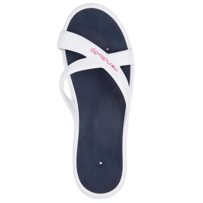Badsandalen voor dames Slap 500 wit/blauw