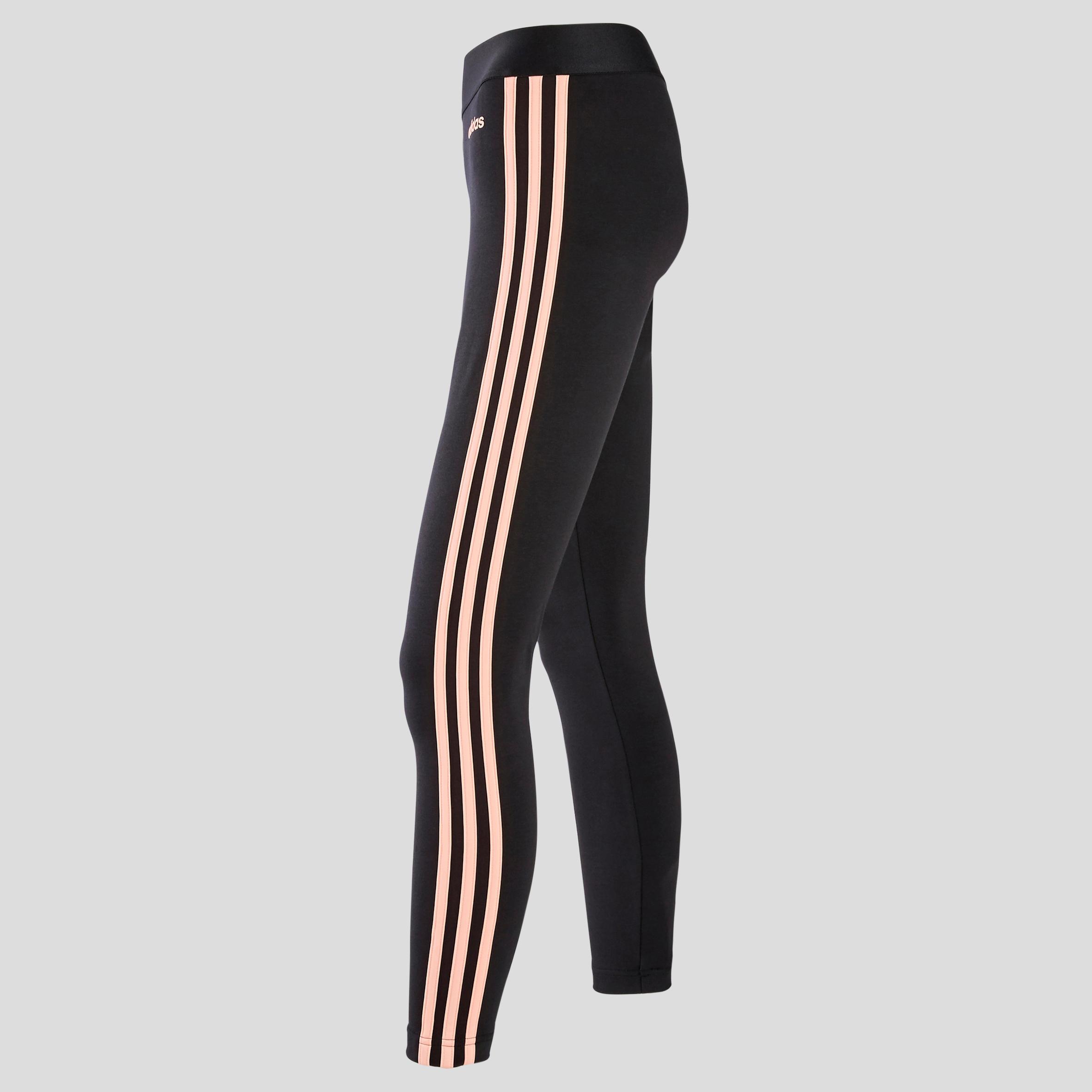 Adidas Dameslegging 3s Voor Pilates En Lichte Gym Zwart Roze Decathlon