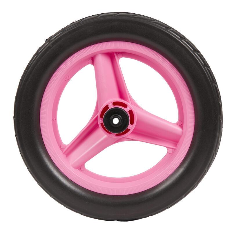 Roue 10 pouces avant draisienne RUNRIDE rose à pneu noir