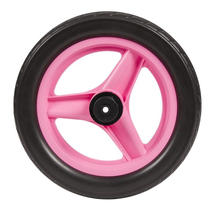 Roue 10 pouces arrière draisienne RUNRIDE rose à pneu noir