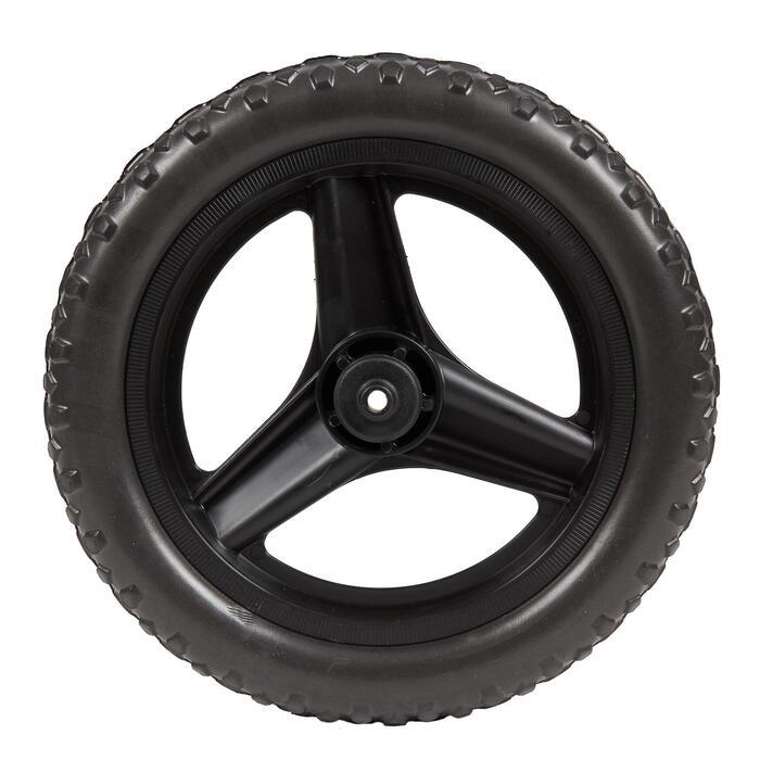 Achterwiel 10 inch voor loopfietsje RUN RIDE zwart met zwarte MTB-band