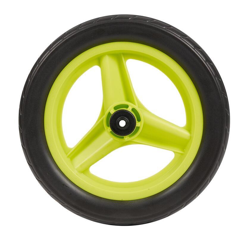 Roue 10 pouces avant draisienne RUNRIDE verte à pneu noir