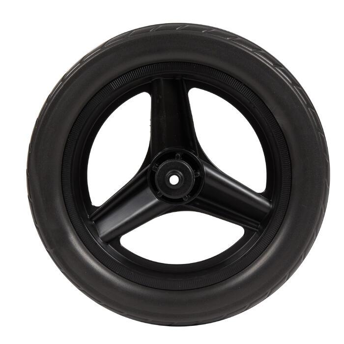Voorwiel 10 inch voor loopfietsje RUN RIDE zwart met zwarte band