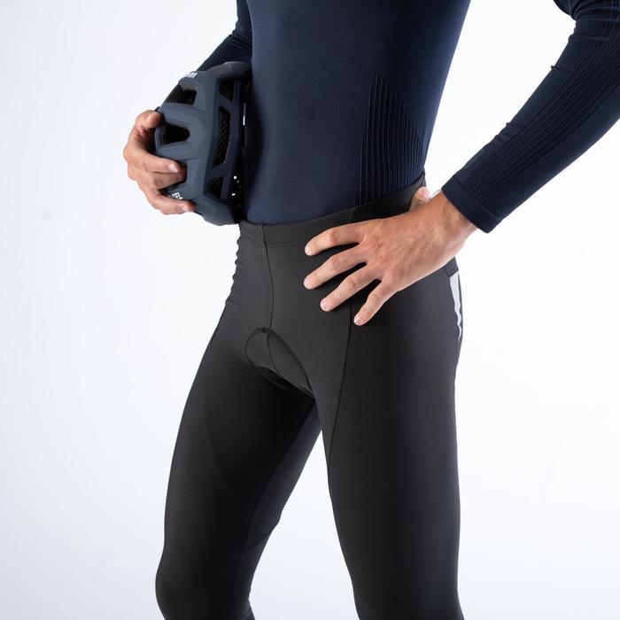 Lange fietsbroek zonder bretels RC500 zwart