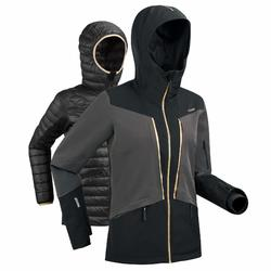 WOMEN'S D-SKI JACKET 980 - BLACK AND GREY