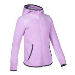 Girls' Warm Breathable Hooded Cotton Gym Jacket 500 - Purple