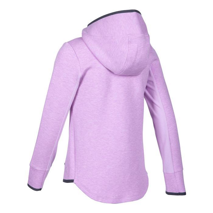 女童健身保暖透氣連帽棉質外套500 - 紫紅色