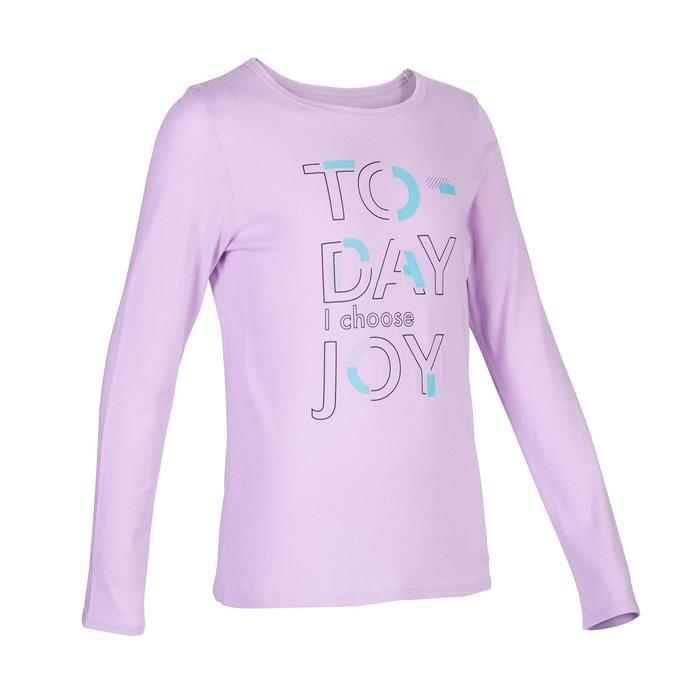 100 Girls' Gym Long-Sleeved T-Shirt - Mottled Mauve Print