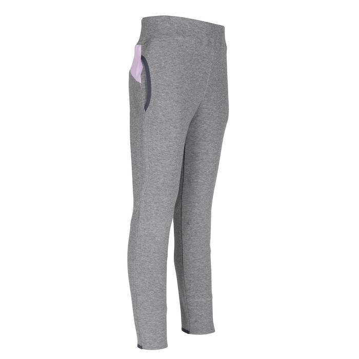 女童保暖透氣內襯修身剪裁棉質健身長褲500 -紫色