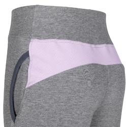 Girls' Warm Slim-Fit Lined Breathable Cotton Gym Bottoms 500 - Purple