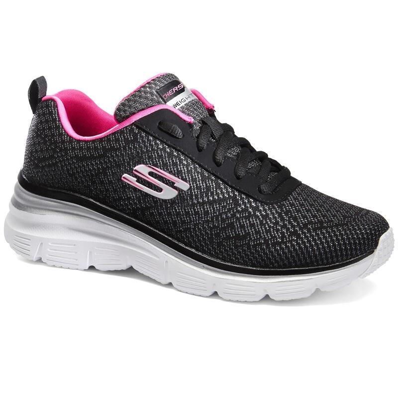 Zapatillas Skechers Flex Appeal Mujer Caminar Negro/Rosa