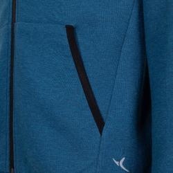 男童透氣棉保暖健身連帽外套500 - 雜藍色