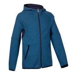 500 Boys' Warm Breathable Cotton Hooded Gym Jacket - Mottled Blue