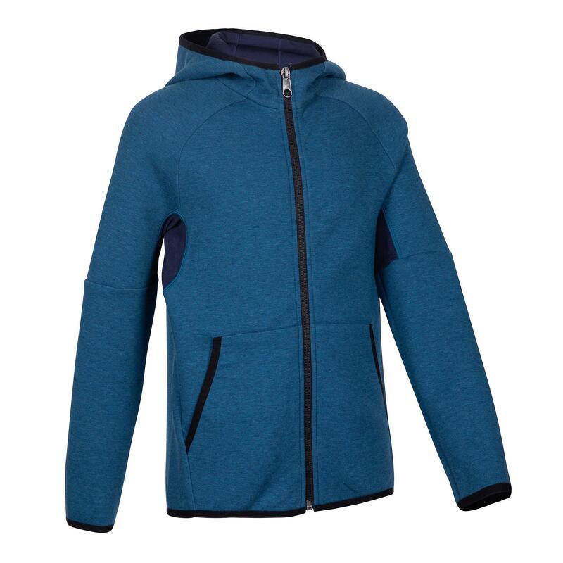 500 Boys' Warm Breathable Cotton Hooded Gym Jacket - Mottled Blue