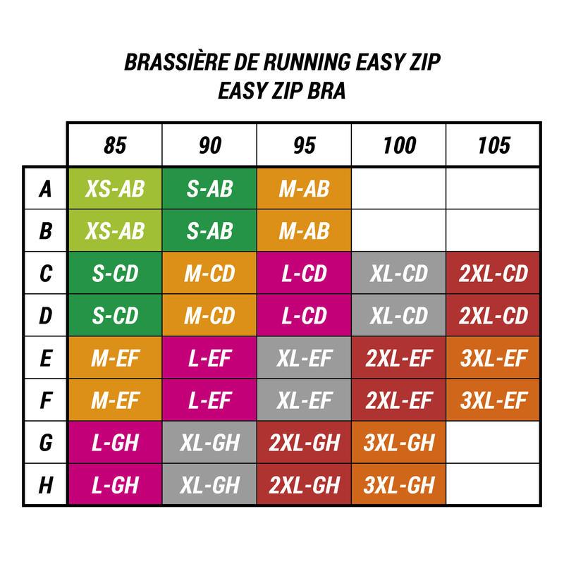 ZIP RUNNING SPORTS BRA - GREY/PURPLE