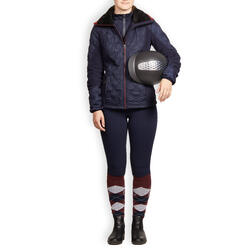 Winter-Reithose 180 warm Full Grip Silikonvollbesatz Damen marineblau