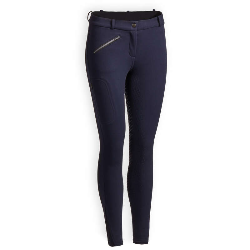WOMAN COLD WEATHER RIDING WEAR Horse Riding - 180 Fullgrip Warm Jodhpurs FOUGANZA - Horse Riding Clothes
