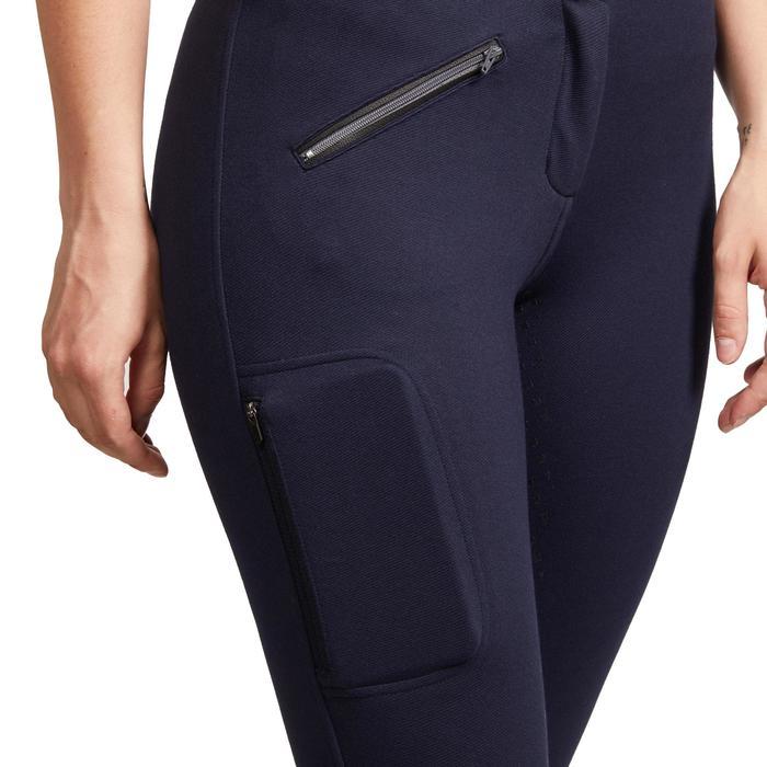 Pantalon chaud équitation femme 180 FULLGRIP assise silicone marine