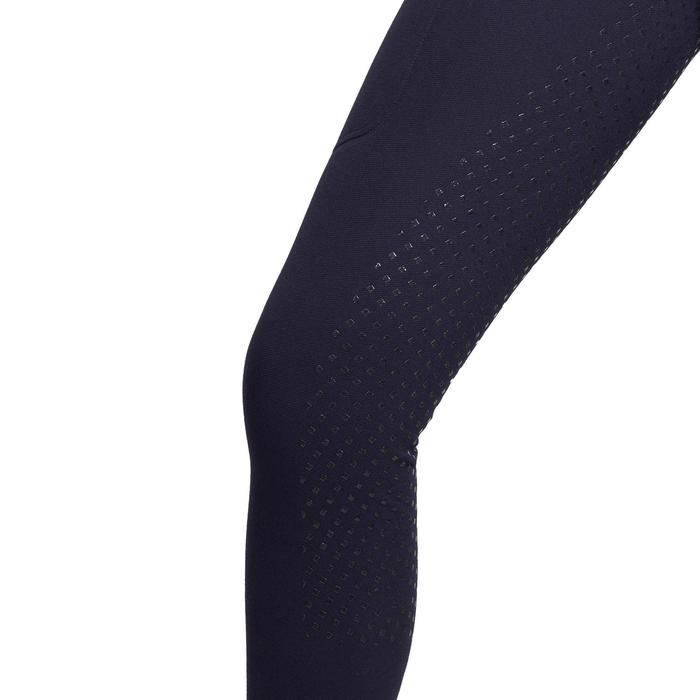 Warme damespaardrijbroek met siliconen zitvlak 180 Fullgrip marineblauw