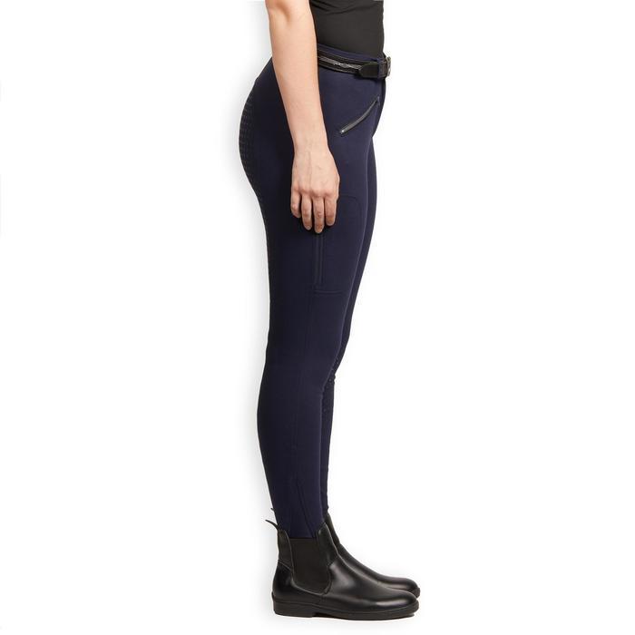 Warme rijbroek voor dames 180 Fullgrip siliconen zitvlak marineblauw