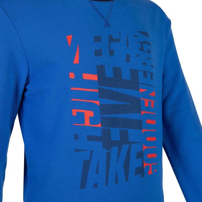 男童健身運動衫100 - 雜藍色印花