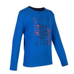 100 Boys' Gym Sweatshirt - Mottled Blue Print