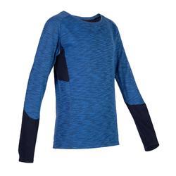 男童透氣棉質長袖健身T恤500 - 藍色