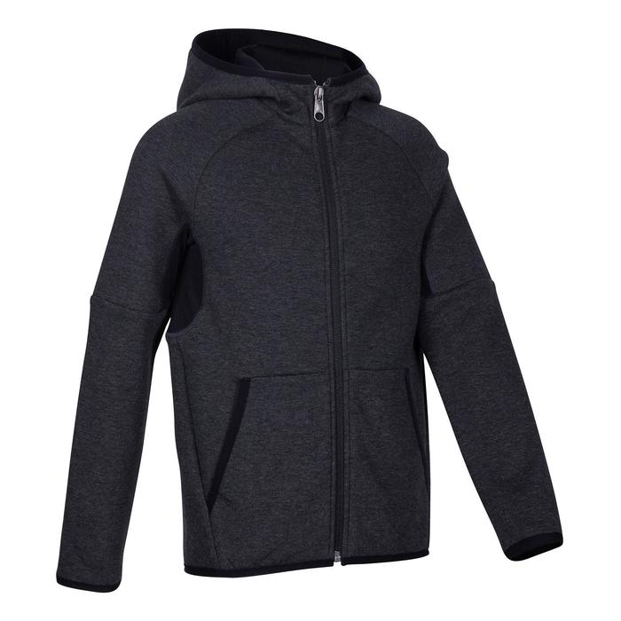 500 Boys' Warm Lined Breathable Cotton Hooded Gym Jacket - Mottled Grey