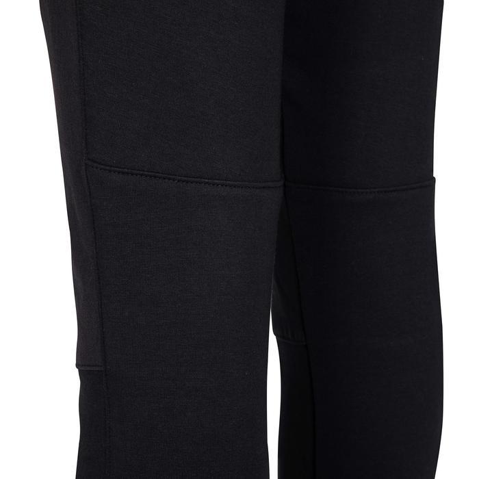 男童透氣棉質內襯網眼強化健身長褲500 - 黑色