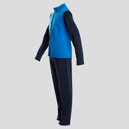 S500 Gym'y Warm Breathable Synthetic Gym Tracksuit Blue - Boys