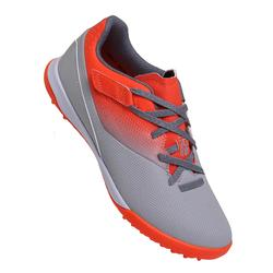 Agility 500 HG Kids' Hard Ground Rip-Tab Football Boots - Grey and Red