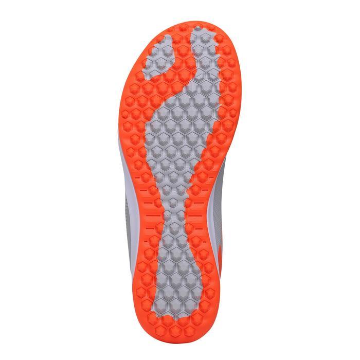 兒童款硬地魔鬼氈足球鞋Agility 500 HG-灰紅配色