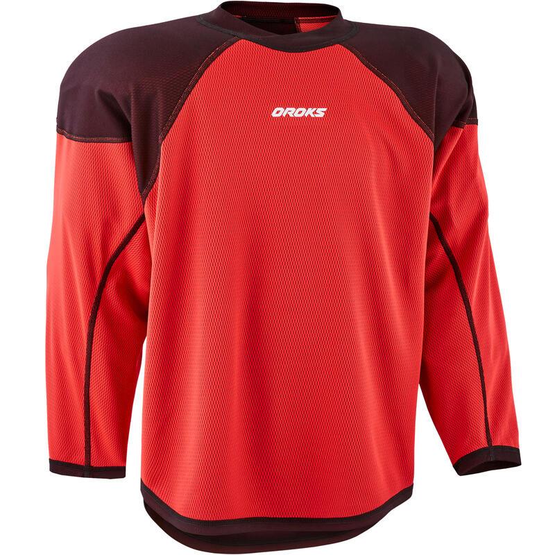 Tricou antrenament hochei IH 500 Negru/Roșu Juniori