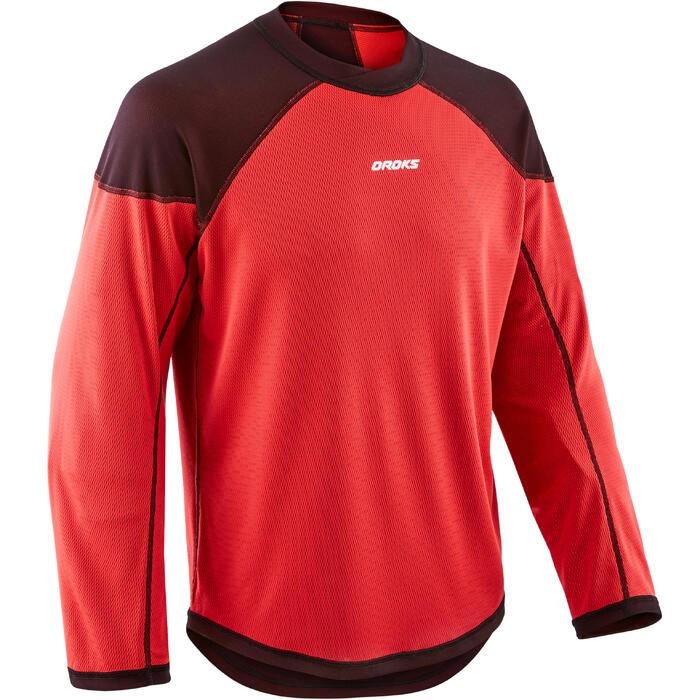 Trainingsshirt voor skeelerhockey volwassenen ILH500 zwart/rood