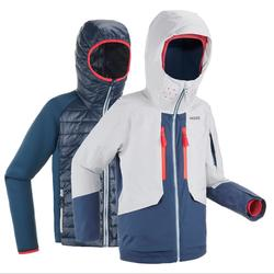 JR Skiing 3-in-1 Jacket Freeride 900 - Grey Blue