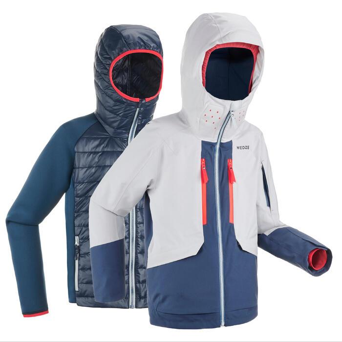 Ski-jas voor freeride voor kinderen 900 3-in-1 grijs/blauw