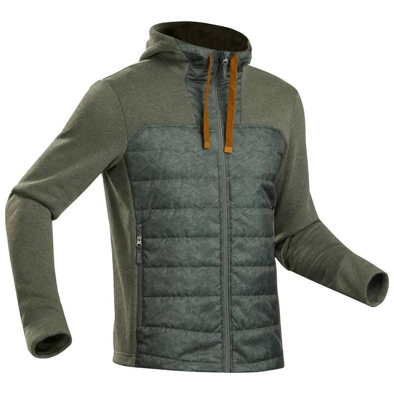 PÁNSKÉ TURISTICKÉ SVETRY A MIKINY Turistika - Hybridní svetr NH 100 khaki QUECHUA - Turistické oblečení