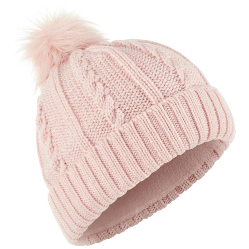 Ski Hat Fur Cable Knit - Pink
