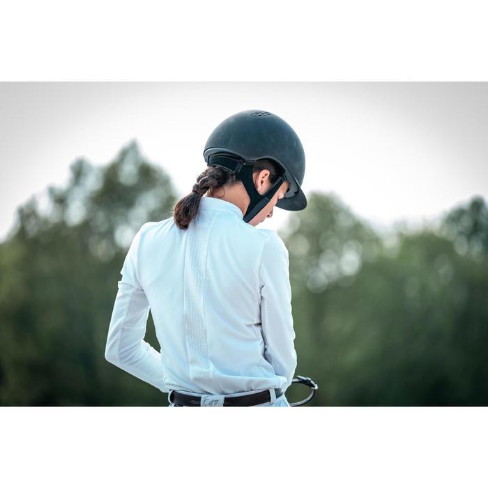 Polo concours d'équitation enfant à manches longues et chaud 500 COMP blanc