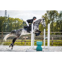 "Silla Equitación Fouganza Padock Caballo Negro 17""5 Mixta Cuero Arzón Ajustable"