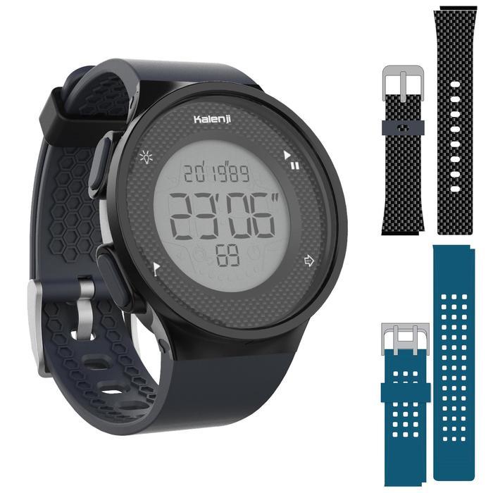 Montre chronomètre de course à pied W500 M bleue et noir