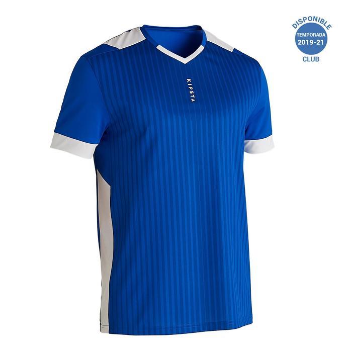 成人款足球短袖上衣F500-藍色