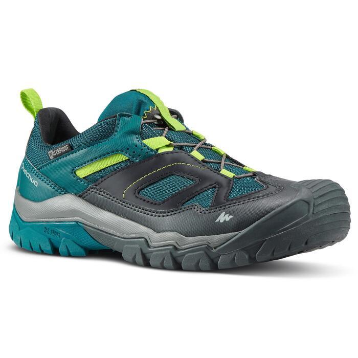 Chaussures de randonnée enfant avec lacet CROSSROCK imperméables vertes