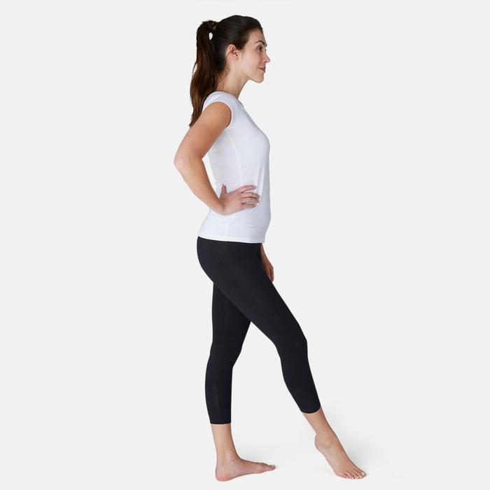 Legging court de sport taille haute Fit+500 femme 7/8 en coton noir